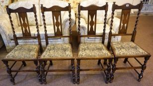 A Set of Four Oak Parlour Chairs, With tapestry upholstered seats, 101cm high, (4)