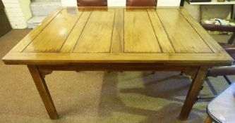 A Large Mahogany Pull Out Dining Table, Raised on square chamfered legs, (not extended 76cm high,