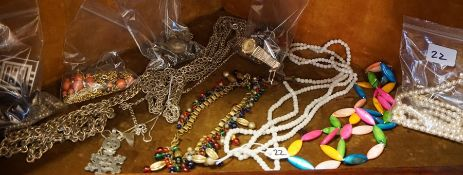A Quantity of Costume Jewellery, To include a white metal amber style necklace, a gold coloured
