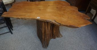 A Naturalistic Wood Coffee Table, The top possibly made from yew, 62cm high, 114cm wide