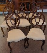 A Set of Eight Victorian Rosewood Balloon Shaped Parlour Chairs, With later stuff over seats,