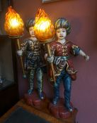 A Pair of Large Scandinavian Painted Composition Lights, circa mid 20th century, Modelled as a boy