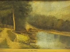 """Scottish School """"On the Tweed"""" Oil on Board, Unsigned, 26cm x 42cm, framed"""