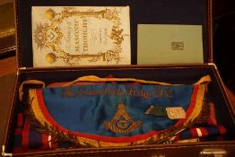 A Masonic Apron, For Galashiels Lodge 262, in box, also with a Grand Lodge of Scotland medal on a