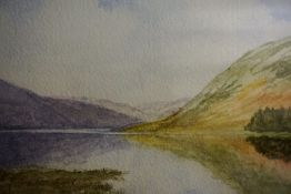 """Helen S Jamieson 20th Century """"St Mary,s Loch near Hawick"""" Watercolour, Initialled to lower left,"""