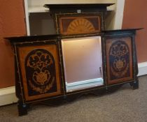 An Art Nouveau Overmantel Mirror, Decorated with inlaid panels above six applied Ruskin style blue