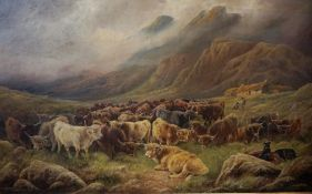 """William Perring Hollyer (British 1834-1922) """"Halt in the Glen"""" Large Oil on Canvas, signed to"""