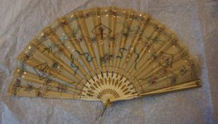 Three Oriental Silk and Lace Fans, circa early 20th century, To include a Shibayama style fan, two