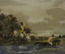 A Set of Six Sporting Prints of Bachelor,s Hall, 27cm x 36cm, framed, with label to verso for John