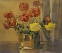 """J. Miller (Scottish) """"Still Life of Flowers in a Planter"""" Watercolour, signed lower right, 53cm x"""