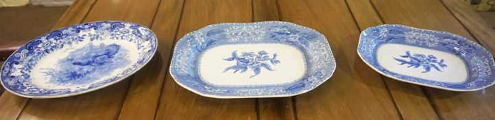 """Two Graduated """"Camille"""" Platters by Copeland Spode, also with a signed Doulton blue and white"""