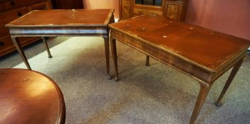 A Pair of Walnut Library Tables, circa early 20th century, With a rectangular top, terminating on