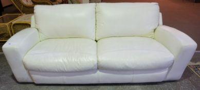 A Contemporary White Leather Sofa, 70cm high, 218cm wide