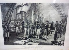 """""""Nelson,s Last Signal at Trafalgar"""" Print, 40cm x 61cm, in a heavy oak frame"""