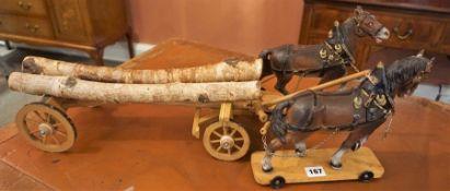 Elastolin Hausser (W.Germany) Model Horse and Log Wagon, circa 1930, 22cm high, 63cm long