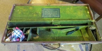 A Vintage Canvas Gun Case, With label for George Hinton & Sons, Enclosing some cleaning equipment