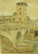 """George Owen Wynne Apperley (1884-1960) """"Rome"""" Watercolour and Pencil, signed and dated 1913 to lower"""