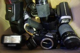 A Mixed Lot of Vintage Camera Equipment, To include lenses, light metres etc, (8)