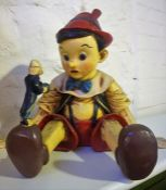 A Large Painted Plaster Figure of Pinocchio, 43cm high