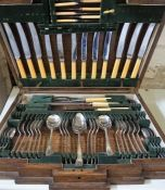 A Part Canteen of Silver Plated Cutlery, 58 pieces in total, enclosed in an Art Deco oak case