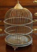 A Victorian Brass Domed Bird Cage, 54cm high