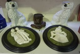 A Mixed Lot of Collectables, Comprising of a pair of wally dugs, an oak tea caddy, corkscrew, and