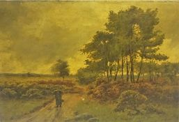 """British School """"Figure on Path-Country Scene"""" Oil on Canvas, Indistinctly signed to lower right,"""