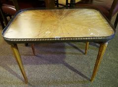 A French Style Walnut Occasional Table, With a metal gallery top, 54cm high, 75cm wide.
