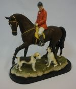A Large Modern Painted Figure of a Hunting Group, Modelled as a horse and huntsman with two dogs,