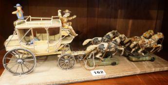 Elastolin Hausser (W.Germany) A Pre War Composition Coach Group, Raised on a plinth base, 14cm high,