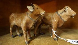 Elastolin Hausser (W.Germany) Two Model Hide Skin Cow Figures, circa 1904, 10cm high, (2)
