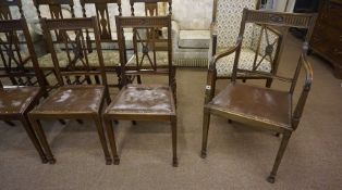 Five Matching Mahogany Dining Chairs, To include one carver, 97cm high, also with a mahogany