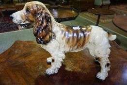 A Painted Plaster Figure of a Spaniel Dog, 36cm high