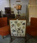 A Wrought Iron Telescopic Stand, 110cm high, also with a Vintage copper tea kettle and a firescreen,