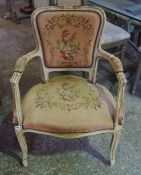 A French Painted Elbow Chair, Upholstered in needlepoint fabric, 86cm high