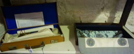 Two Masonic Aprons, Both in fitted cases, (2)