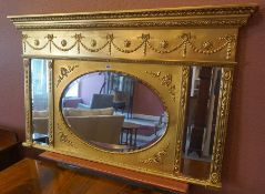 A Regency Style Gilded Triptych Overmantel Mirror, 20th century, 81cm high, 132cm wide