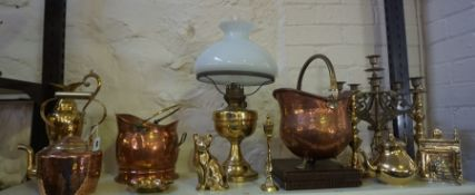 A Mixed Lot of Brass and Copper Wares, To include a tea kettle, a coal helmet, oil lamp, etc, (a