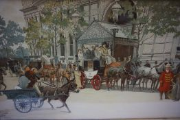 "Ludovic ""Horse Drawn Carriages"" Print, signed to lower left, 37cm x 65cm, in an oak frame"