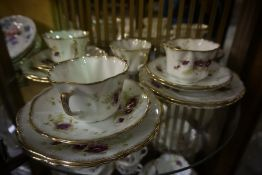 A Quantity of China Tea Wares, To include a Longton Wellington 40 piece china tea set, a Coalport 18