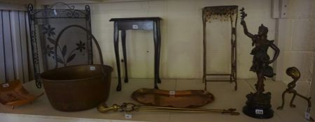 A Mixed Lot of Collectables, To include an English school Arts & Crafts style copper tray, not