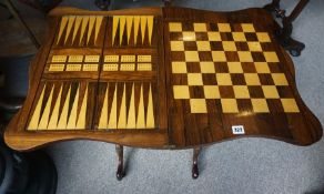 An Early Victorian Rosewood Tunbridge Ware Games Table, Enclosing an inalid backgammon, cribbage and