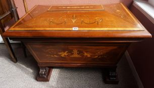 A George III Style Mahogany Inlaid Wine Cooler, circa 19th century, Of sarcophagus form, Having a