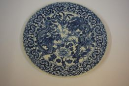 A Chinese Kangxi Style Blue and White Pottery Saucer Dish, Probably Qing Dynasty, Decorated with a