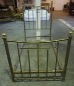 A Vintage Brass Effect Single Bed, With irons, 140cm high, 102cm wide, 206cm long