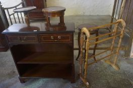 A Mixed Lot of Furniture, Comprising of an open bookcase, three plant stands and a towel rail, (5)