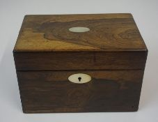 A Regency Rosewood Tea Caddy, Having a mother of pearl cartouche and escutcheon, lacking mixing jar,