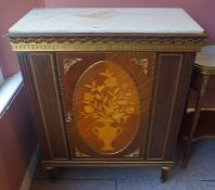 An Italian Style Side Cabinet, 20th century, Having a detachable marble top above an inlaid door