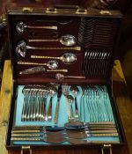 A Danish Style Silver Plated Canteen of Cutlery, stamped 10/10, 70 pieces in total, in a fitted