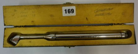 A Vintage Service Tyre Guage by Schrader, 28cm long, with original papers in fitted box